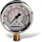 "Enerpac G2514L Hydraulic Pressure Gauge, 2.50"" Display Face, 1000 PSI, Glycerin Filled"